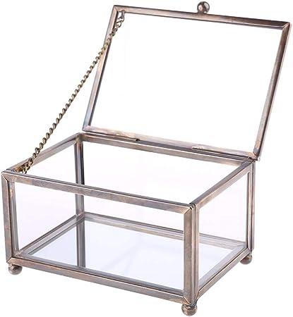 ZJFloral Joyero, caja de cristal transparente nórdica para anillos de boda, soporte de almacenamiento de flores eternas, pendientes, collares regalo para niñas madre y mujeres: Amazon.es: Hogar