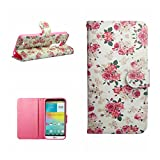 For LG G3 CASE,G3 D850 D855 CASE,M.Jvisun Colored PU Synthetic Leather Card Wallet Stand Flip Cover For LG G3 D850 D855 CASE -C-Pink Floral Credit Card Synthetic Leather Case