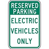 ComplianceSigns Reflective Vinyl Parking - Designated / Reserved label, 18 x 12 in. Self-Adhesive - White