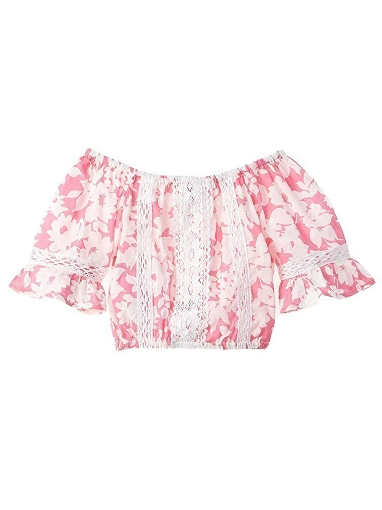 Azul Little Girls Pink Floral Notes Lace Detailed Peasant Top 2T-7
