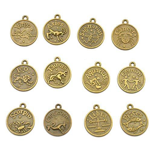 12 Antique Bronze Horoscope Zodiac Star Sign Pendant Charm Jewelry Necklace Jewelry Crafting Key Chain Bracelet Pendants Accessories Best