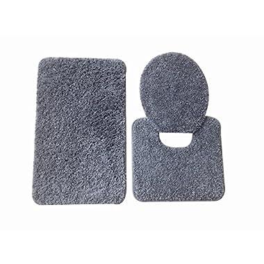 5th Avenue 3 Piece Bathroom Rug Set - Bath Mat, Contour, Cover (Silver)