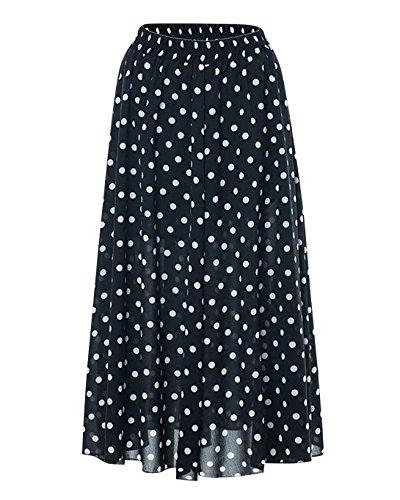 Femme Casual Jupes Vintage Rtro Point d'onde A-Line Style Fluffy en Taille Haute Au Genou Robe De Cocktail Noir