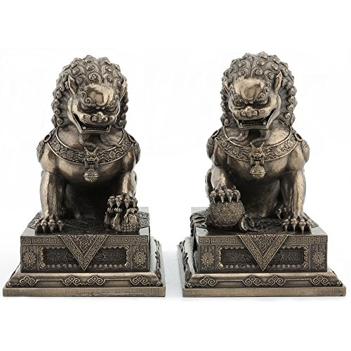 - T-Trove Chinese Guardian Lion Statues, Foo Dog Bookends