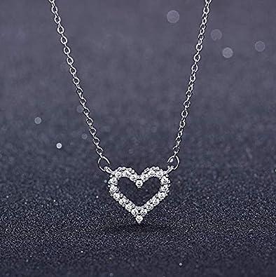Collar De Corazón De Amor Plateado, Micro-Set De Diamantes Completos, Collar Cruzado De Niña, Manga De Clavícula Salvaje Clásica