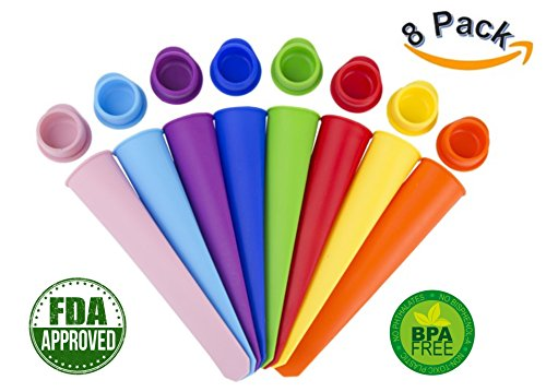 Ice Pop Mold Set By Golden Spoon: Colorful Flexible & Durable Popsicle Makers-BPA Free, FDA Approved & Food Grade Material-Mess-Free Freezing & Easy Cleanup-Wonderful Gift Idea (Set of 8)