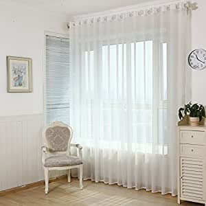 Wpkira living room curtain screens bedroom curtains solid white yarn sheer window - Amazon curtains living room ...