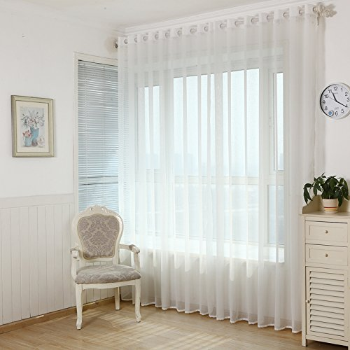 WPKIRA Living Room Curtain Screens Bedroom Curtains Solid White Yarn Sheer Window Curtain Pure Gauze Grommet Top,1 Panel W40 x L63 inch