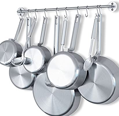 Amazon Com Wallniture Cucina 24 Wall Mount Kitchen Utensil Holder With 10 S Hooks For Hanging Pots And Pans Set And Lid Organizer Silver Home Kitchen