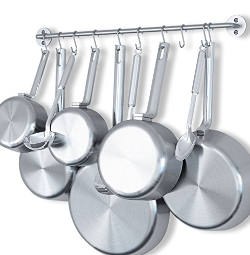 WALLNITURE Gourmet Kitchen Wall Mount Rail Pot Pan Lid Holder Rack and 10 Hooks Silver 24 (Wall Mount Pan Rack)
