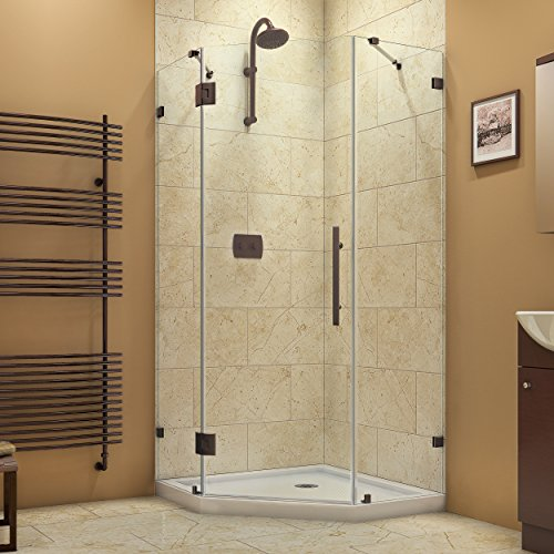 DreamLine Prism Lux 36 5/16 in. D x 36 5/16 in. W, Frameless Hinged Shower Enclosure, 3/8'' Glass, Oil Rubbed Bronze Finish by DreamLine