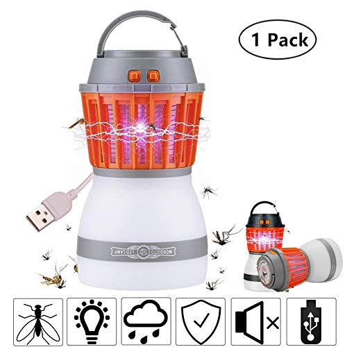 XREXS Outdoor Mosquito Zapper 2-in-1 Bug Zapper & Camping Lamp Natural Mosquito Killer Lamp Travel Camping Lantern Pest Control, Usb Charging, IP67 Waterproof Indoor &Outdoor(Random Color)