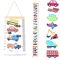 JJGoo Baby Growth Chart Hanging Ruler Wall Decor, Wood Frame Fabric Canvas Removable Height Measurement Ruler Wall Height Growth Chart for Kids Toddlers and Babies