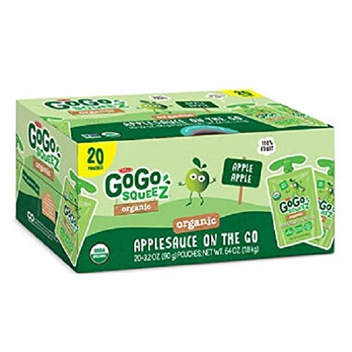 GoGo SqueeZ Organic Applesauce (3.2 oz. pouches, 20 ct.) from GoGo SqueeZ