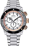 Edox Chronoffshore-1 Mens Quartz Date Chronograph Tachymeter Wrist Watch Analog 45 mm Round White Dial With Sapphire Crystal And Silver Steel Band 500m Water Resistant Business Genuine Luxury Watches - For Men