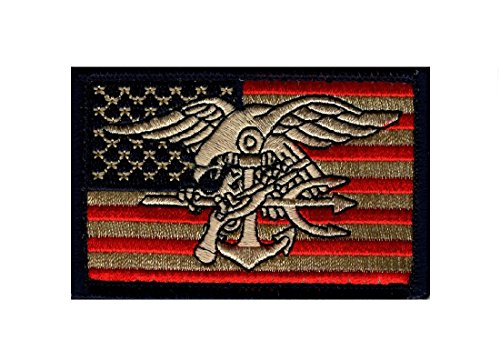 Seal Team Trident - Seals American Flag Marines Trident Seal Team Morale Hook Patch (MTU15)