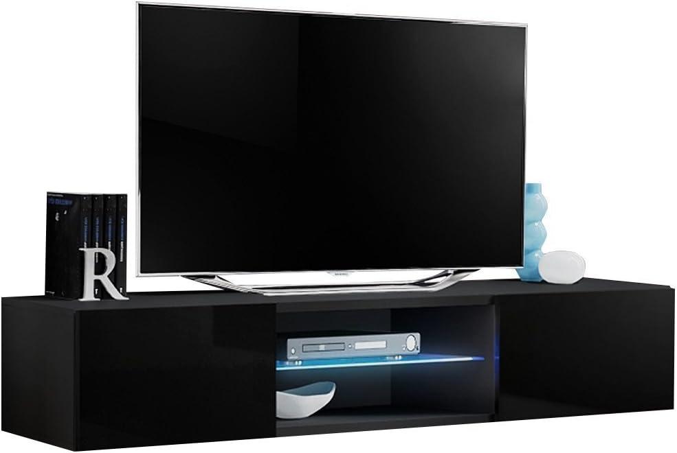 JUSTyou FLI T33 Mueble para TV Mesa televisión salón Tamaño: 30x160x40 cm Negro Mat/Negro Brillante: Amazon.es: Hogar