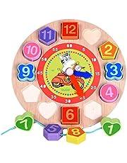 لعبة ساعة خشبية تعليمية، العاب تصنيف الاشكال وتعلم الارقام برباط خرز لربط الادوات، لعبة احجية تعليمية