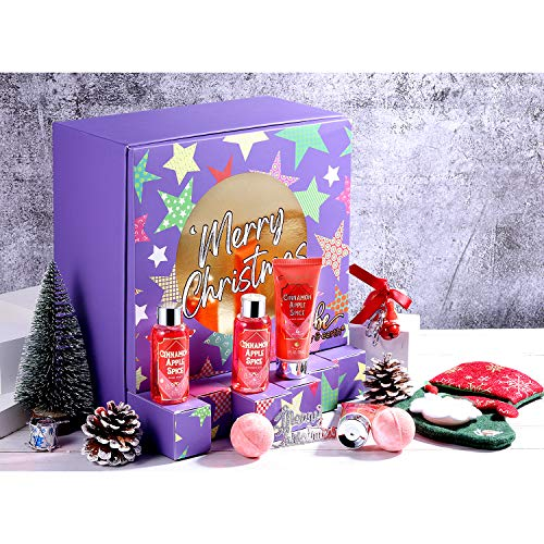BODY & EARTH Bath and Body Gift Set - 9 Piece of Christmas Bath Gift Sets for Women,Cinnamon Apple Spice with Shower Gel,Body Lotion,Hand Cream,Bath Bomb,Socks and More