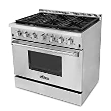 "Thor Kitchen HRG3618U 36"" Pro-Style 6 Burner Stainless Steel Gas Range"