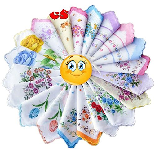 Anna Printed Silk Dress (Dillian Womens Vintage Floral Wedding Party Cotton Handkerchiefs,10pcs)