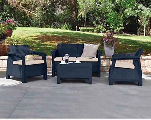 Keter Corfu 2 Seater Rattan Sofa Outdoor Garden Furniture