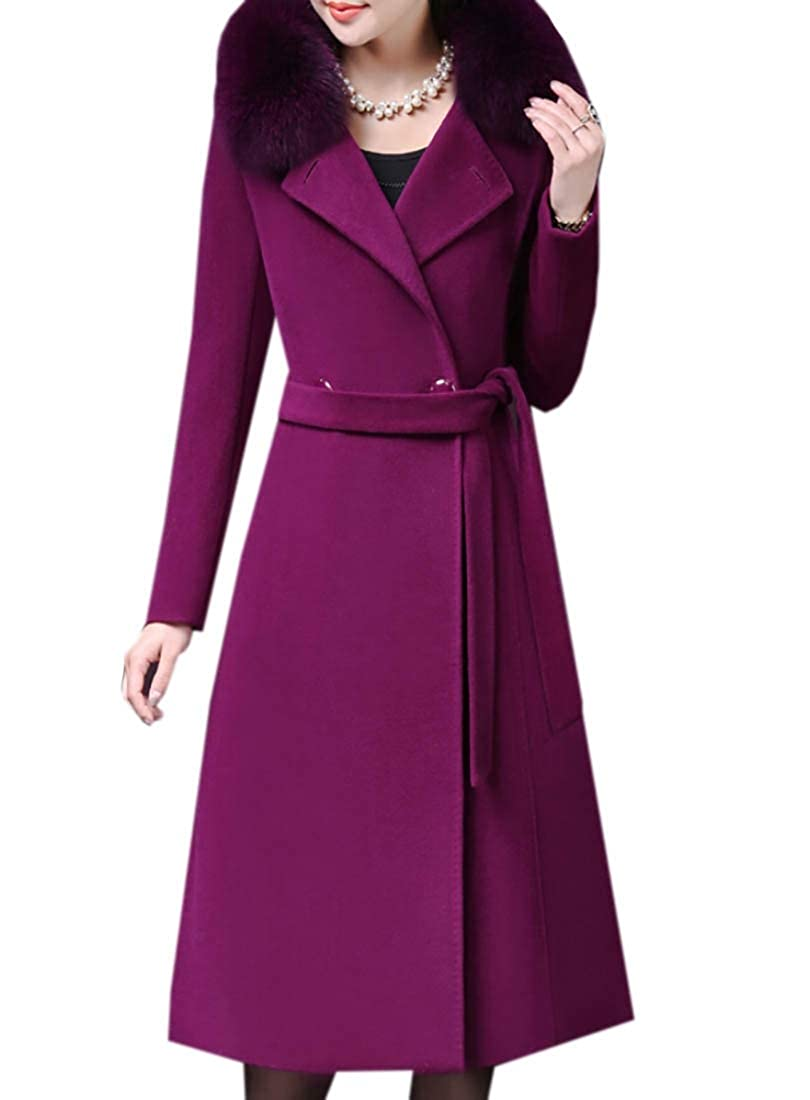 1 Womens Elegant Thicken Wool Blend Faux Fur Collar Pea Coat
