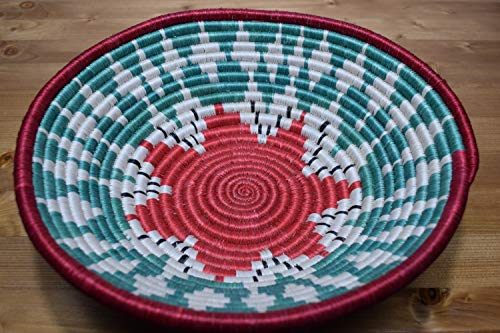 Handwoven African Basket - Decorative Woven Bowl - Sisal & Sweetgrass Basket Handmade in Rwanda ~11.5'' - White, Candy Red, Fern Green, RB197