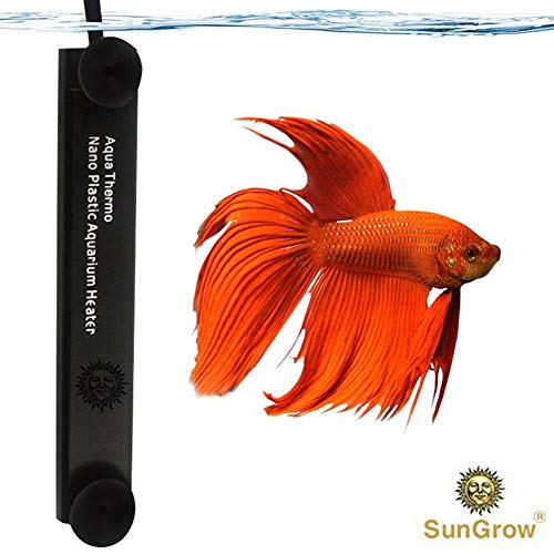 10W Betta Heater - for Small Tanks (1.5 gal.) - Fully Submersible Aquarium Heater - Automatically Reaches Preset Temperature - Energy-efficient Heating Module - Suction Cups for Easy Installation