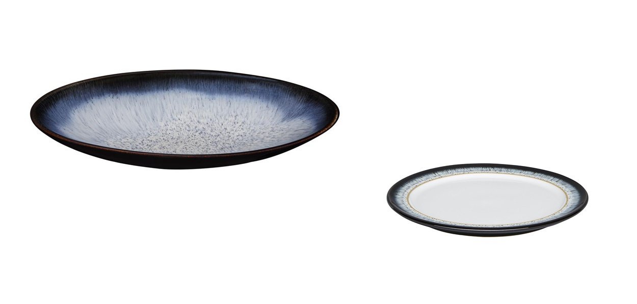 Denby Halo Medium Oval Serving Dish and Wide Rimmed Small Plate, Set of 2