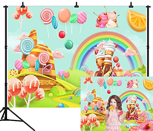 DePhoto 7X5FT(210X150CM) Sweet Cartoon Lollipop Candy Castle Rainbow Baby Seamless Vinyl Photography Backdrop Photo Background Studio Prop PGT132A ()