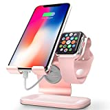 ZVEdeng 2 in 1 Cell Phone Stand and Apple Watch Stand, Phone Apple Watch Charging Station Stand Dock, Universal Stand Holder for Phone and Apple Watch Both 38mm-42mm (Rose Gold-Leather)
