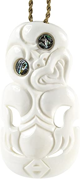 Earthbound Pacific New Zealand Maori Hand Carved Bone Tiki Necklace Amazon Com