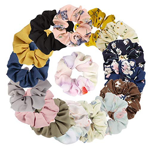 (Kicosy 16 Colors Chiffon Hair Scrunchies Ponytail Holder Women Hair Bow Including 10 PCS Chiffon Flower Scrunchies and 6 PCS Satin Colors)