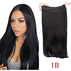 20inch Halo Hair Extensions Black Natural Wavy Secret Flip in Synthetic Hair Pieces Hidden Wire Crown Headband Heat Resistant Fiber (20inches 1B)