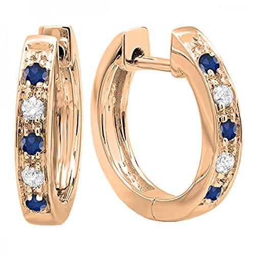 - Dazzlingrock Collection 10K Round Blue Sapphire & White Diamond Ladies Hoop Earrings, Rose Gold