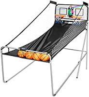 VIVOHOME Foldable Dual Shot Basketball Arcade Game Electronic for 2 Players with 8 Game Modes, 4 Balls and LED