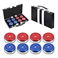 """TORPSPORTS Set of 8 Aluminum Caps Shuffleboard Weights 2-1/8"""" Size with Case- Red/Blue"""