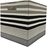 BHG Collapsible Fabric Storage Cube - Black & Taupe Stripe-1 Storage bin.12.8W x 12.8H x 15L (32.5 cm x 32.5 cm x 38 cm)