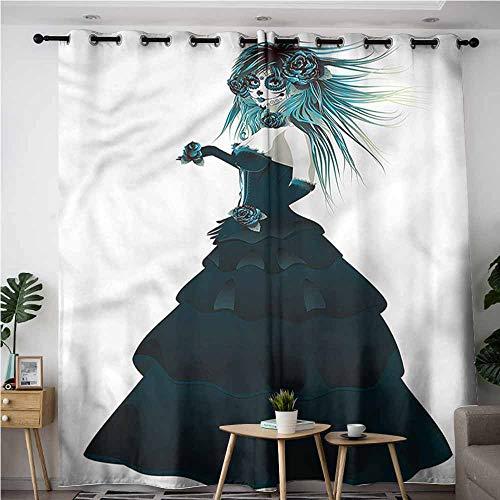 XXANS Kids Curtains,Girls,Gothic Halloween Lady Zombie,Space Decorations,W96x72L -
