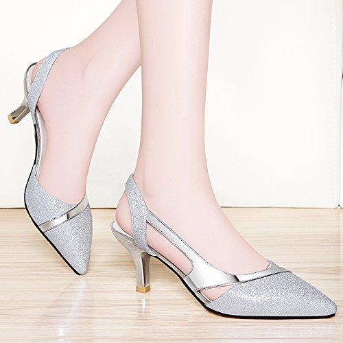 VIVIOO High Heels High Heel Sandals Baotou Sandals Women Summer Wild Summer Shoes Tip Shallow Slim Stiletto Heels Silver