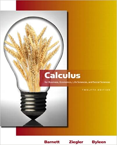 calculus for business barnett 12th edition