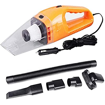 12v Handheld High Power Car Vacuum Cleaner, Carpet Cleaner for Car 120W 4000pa with Cigarette Plug Cleaning Pet Hair, Soot, Bread Crumbs and etc - Orange: Home & Kitchen [5Bkhe1500937]