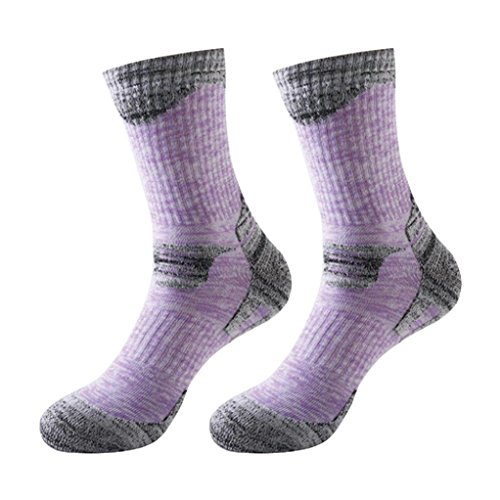 YUEDGE Women's 2 Pack Antiskid Wicking Cotton Socks For Outdoor Camping Hiking Sports