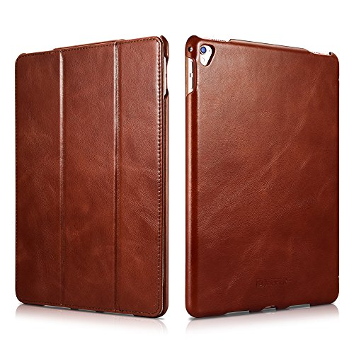 - iPad Pro Leather Case, Icarercase Genuine Leather Side Open Flip Folio Style Smart Cover in Ultra Slim Design with Stand & Auto Wake/Sleep Functions for 9.7-inch(Brown)