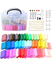 50 Colors Polymer Clay Oven Bake Clay Nontoxic Modeling Clay DIY Soft Craft Clay Set with Sculpting Tools and Accessories in Storage Box for Kids