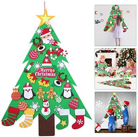 Amosfun Albero Natale Feltro Fai-da-Te con Ornamenti Staccabili 32Ppcs Decorazioni da Appendere a Parete per Bambini Regali di Natale Decorazione della Porta di casa
