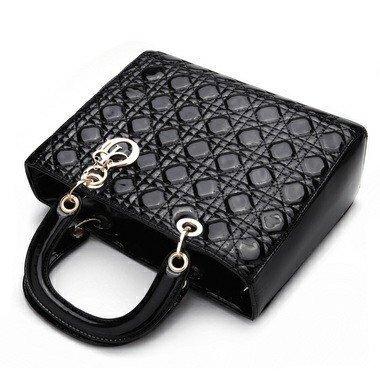 Autek Fashion Pretty Elegant Argyle Pattern Women Lady Baby Cosmetic Tote Bag Classic Handbag (Black)