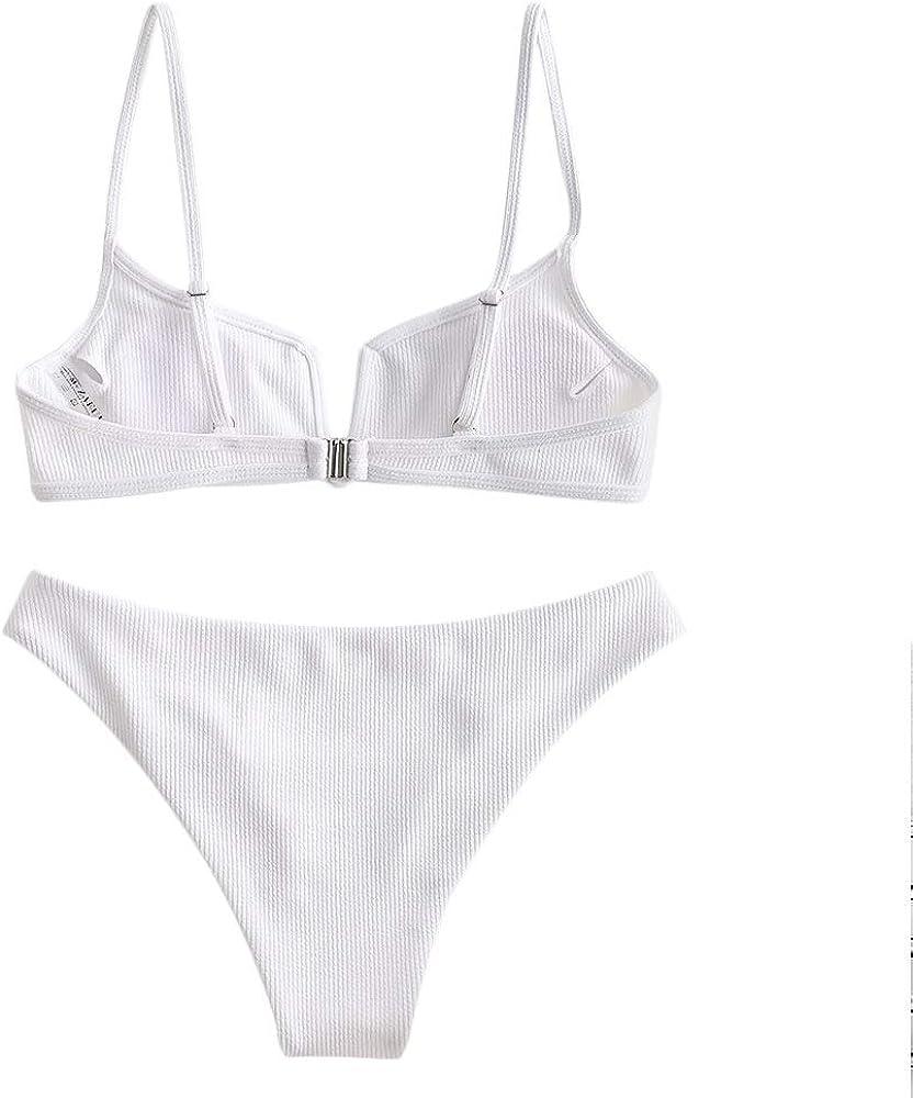 ZAFUL Womens V Wired Padded Ribbed High Cut Cami Bikini Set Two Piece Swim