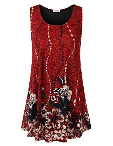 Flower Red Shirts (BaiShengGT A-line Sleeveless LaceTunics Top, Ladies Round Neck Flared Tunic for Leggings Swing Flare Flower Tank Tops M Red#2)